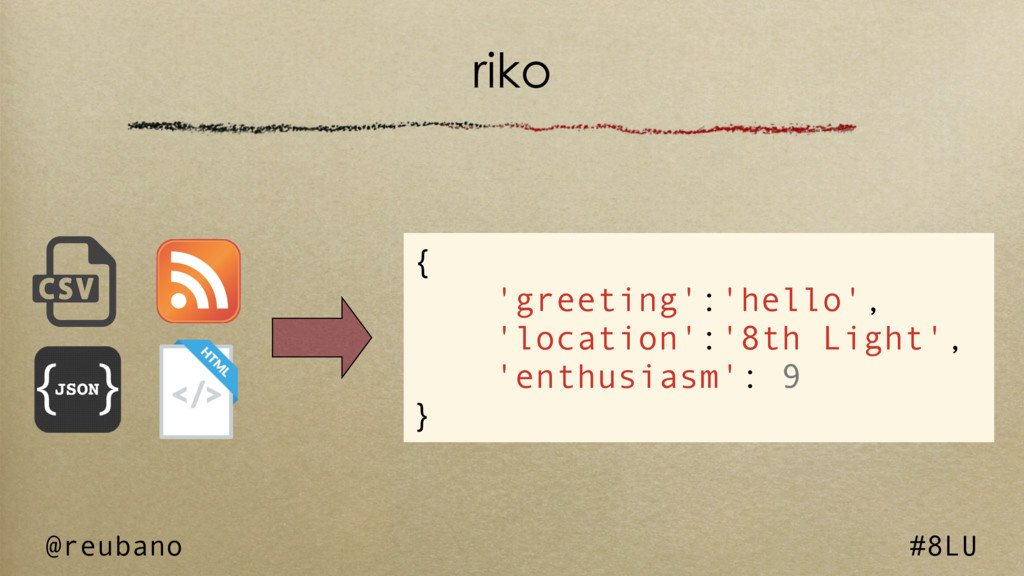 @reubano #8LU riko { 'greeting':'hello', 'locat...