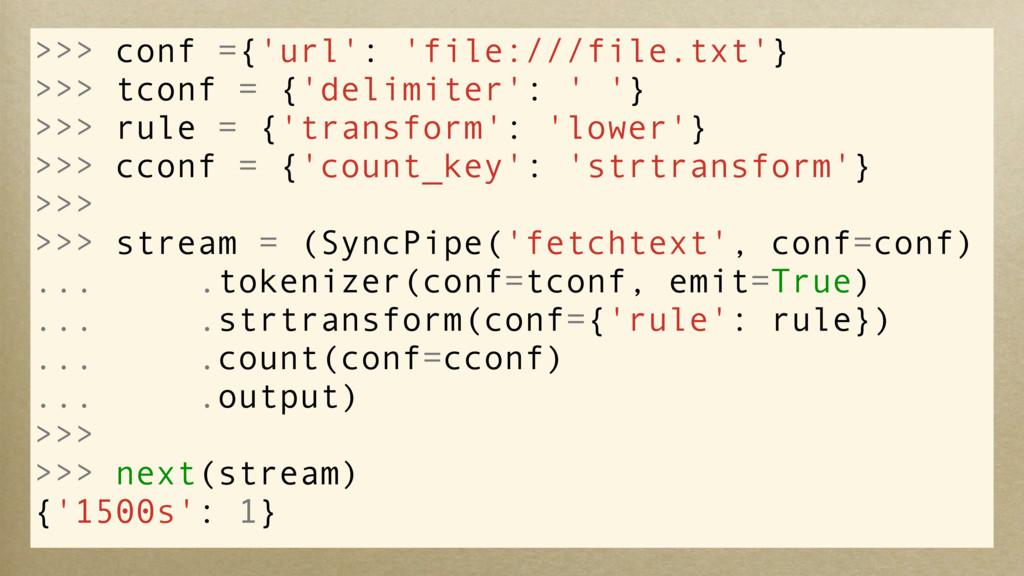 >>> conf ={'url': 'file:///file.txt'} >>> tconf...