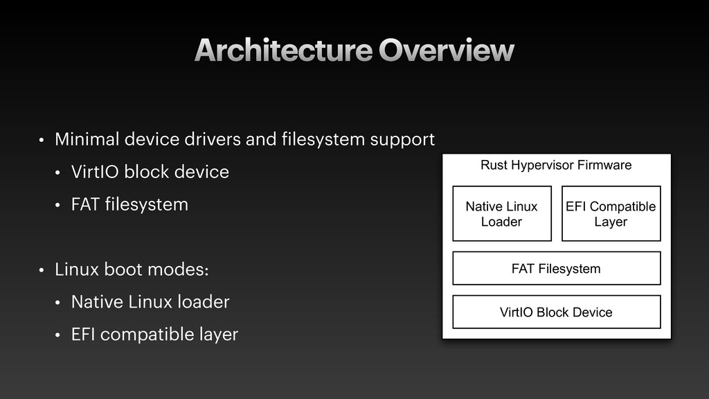Architecture Overview • Minimal device drivers ...