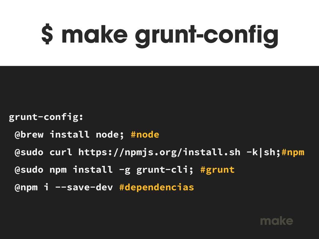 $ make grunt-config MAKEFILE grunt-config: @bre...