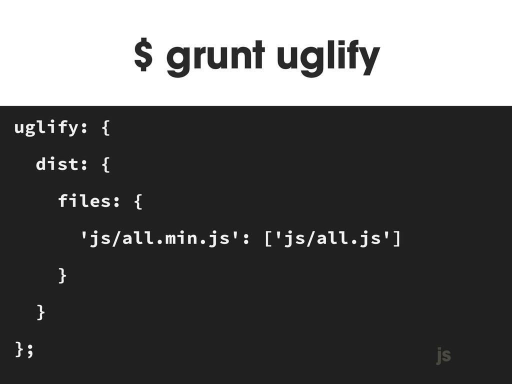 $ grunt uglify MAKEFILE uglify: { dist: { files...
