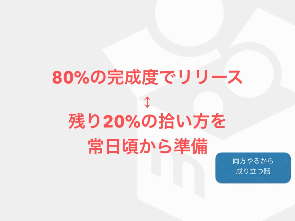 80%ͷͰϦϦʔε ÷ Γ20%ͷर͍ํΛ ৗࠒ͔Β४උ ྆ํΔ͔Β Γཱͭ