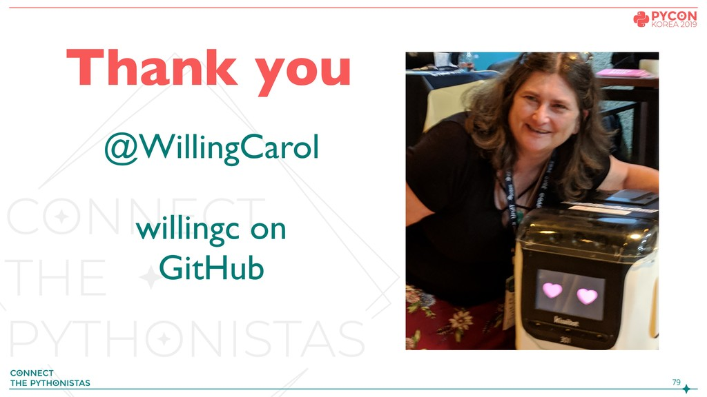 Thank you @WillingCarol willingc on GitHub