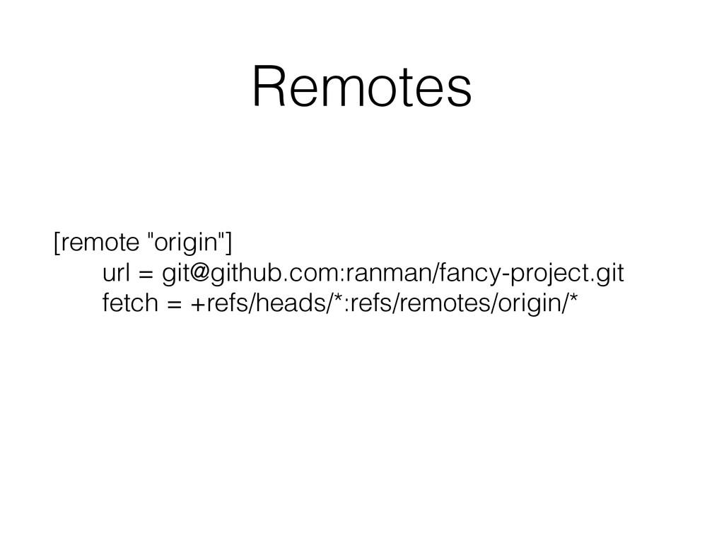 """Remotes [remote """"origin""""] url = git@github.com:..."""