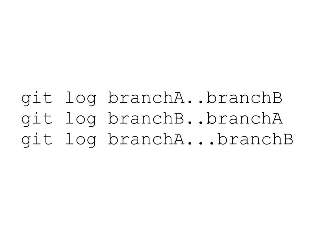 git log branchA..branchB git log branchB..branc...