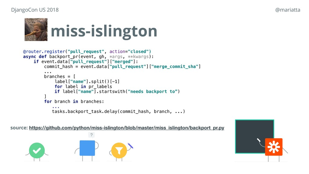 """miss-islington @router.register(""""pull_request"""",..."""