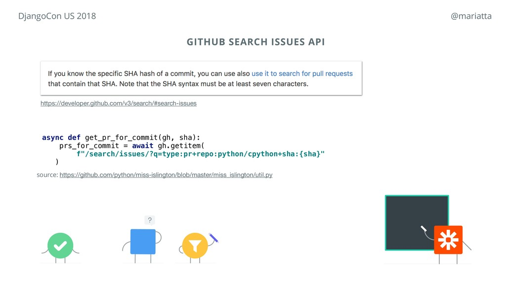 GITHUB SEARCH ISSUES API async def get_pr_for_c...