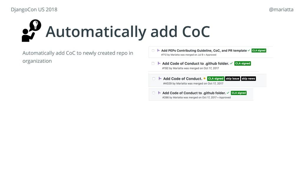 Automatically add CoC Automatically add CoC to ...