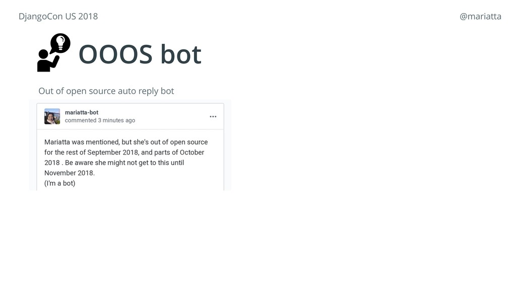 OOOS bot Out of open source auto reply bot Djan...