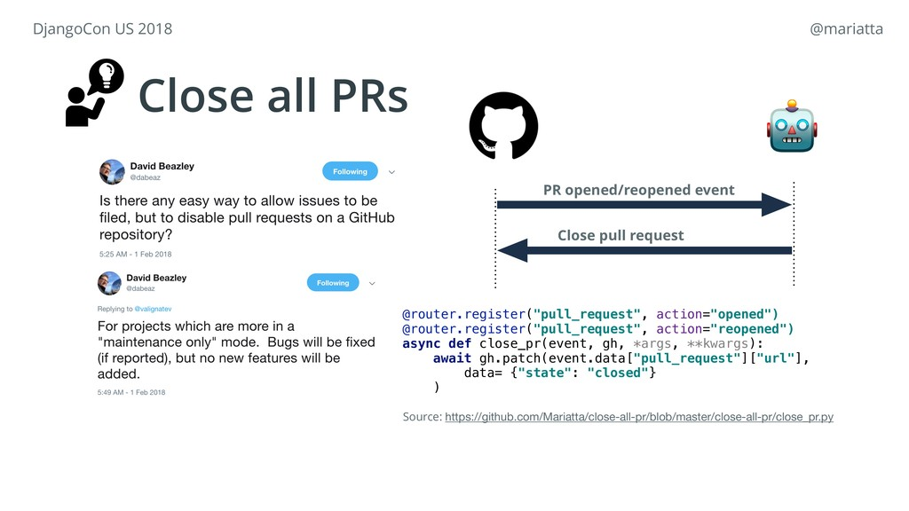 Close all PRs PR opened/reopened event  Close p...
