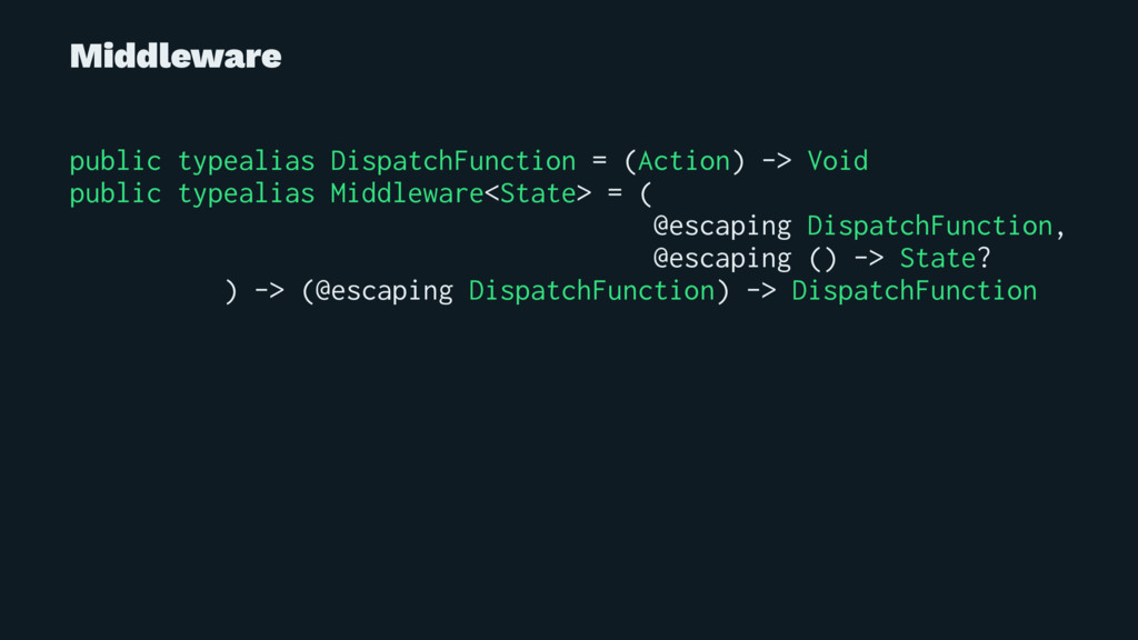 Middleware public typealias DispatchFunction = ...