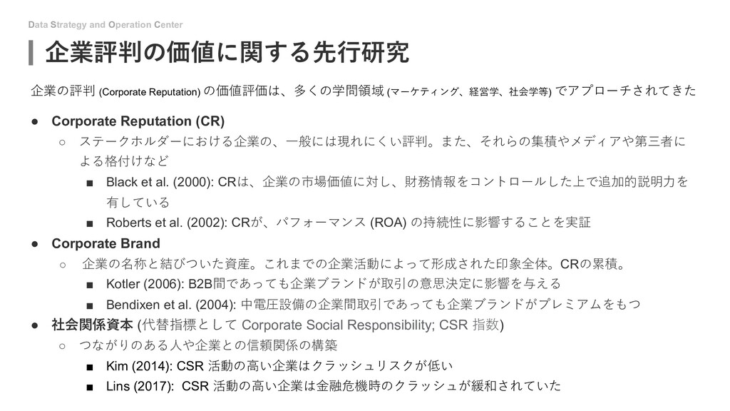 Data Strategy and Operation Center 企業評判の価値に関する先...
