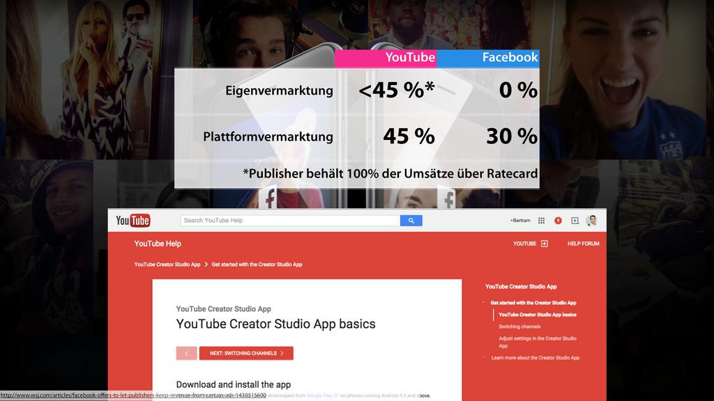 YouTube Facebook Eigenvermarktung <45 %* 0 % Pl...