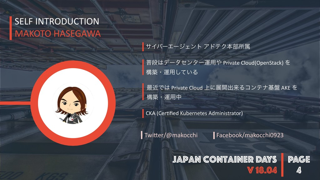PAGE Japan Container DAYS v 18.04 4 SELF INTROD...