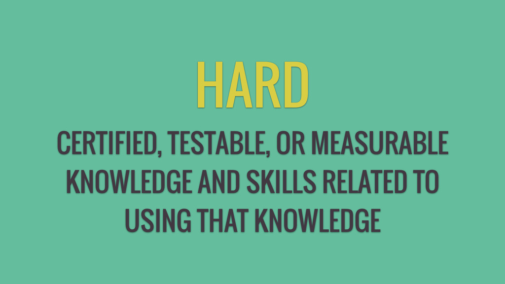 HARD CERTIFIED, TESTABLE, OR MEASURABLE KNOWLED...