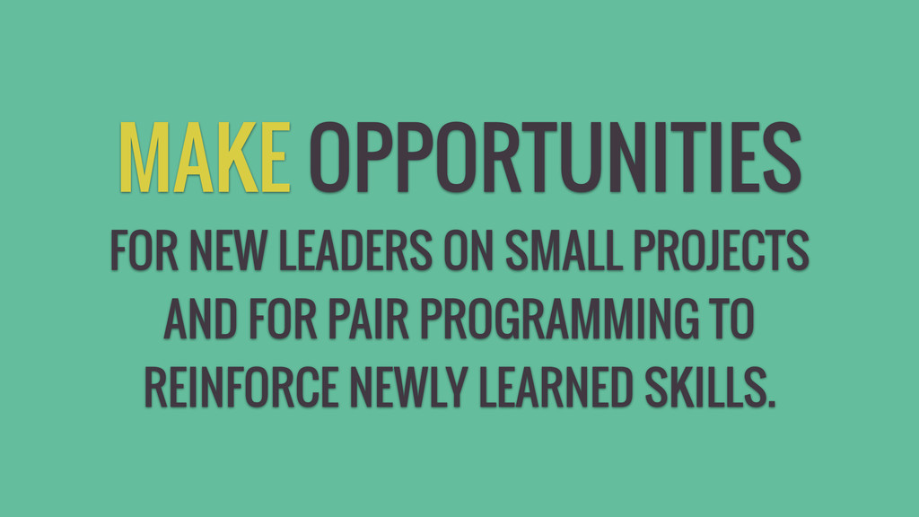 MAKE OPPORTUNITIES FOR NEW LEADERS ON SMALL PRO...