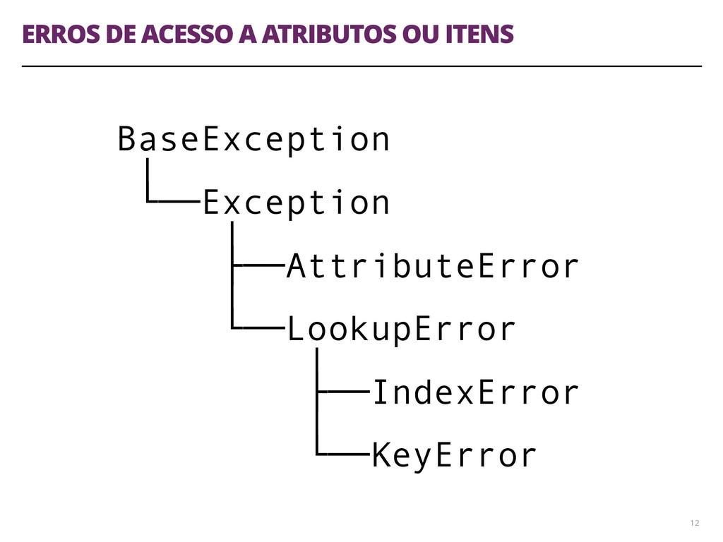 ERROS DE ACESSO A ATRIBUTOS OU ITENS 12 BaseExc...