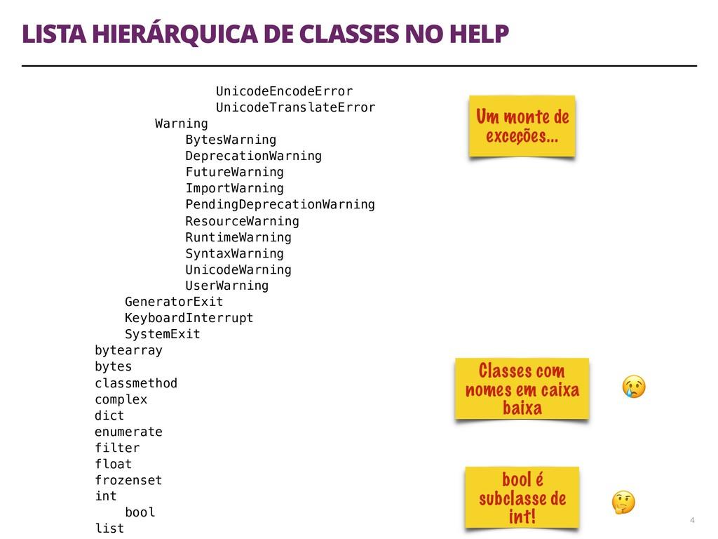 LISTA HIERÁRQUICA DE CLASSES NO HELP 4 UnicodeE...