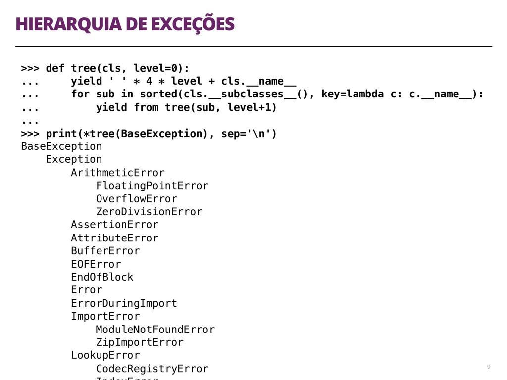 HIERARQUIA DE EXCEÇÕES 9 >>> def tree(cls, leve...