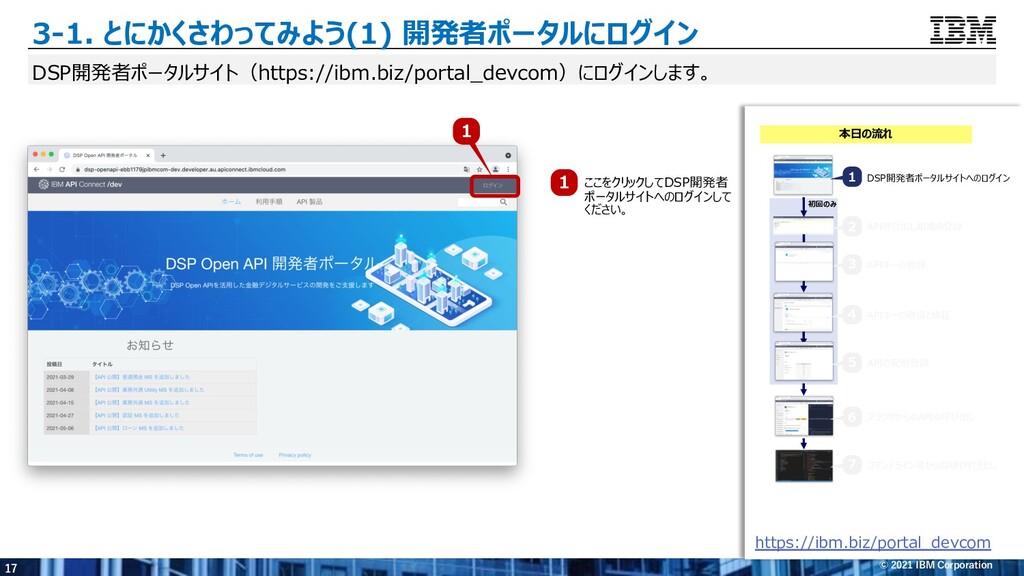 17 © 2021 IBM Corporation 3-1. とにかくさわってみよう(1) 開...