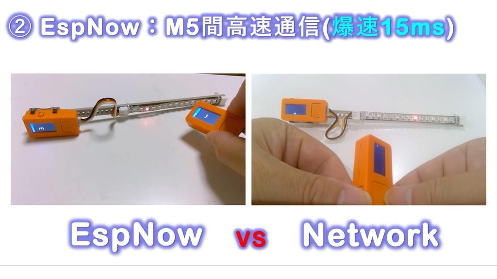 Network EspNow VS ② EspNow:M5間高速通信(爆速15ms)