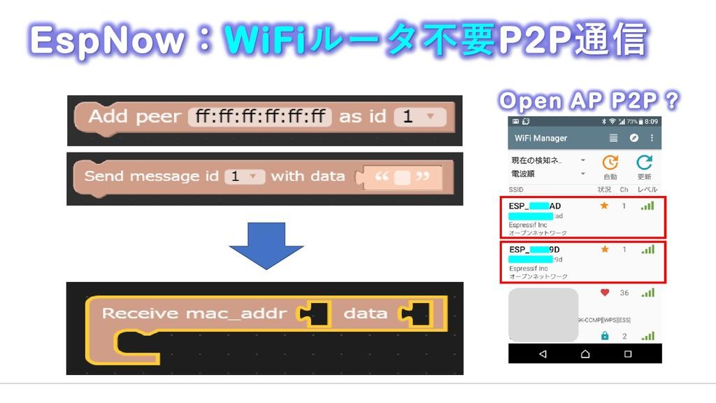 EspNow:WiFiルータ不要P2P通信 Open AP P2P ?