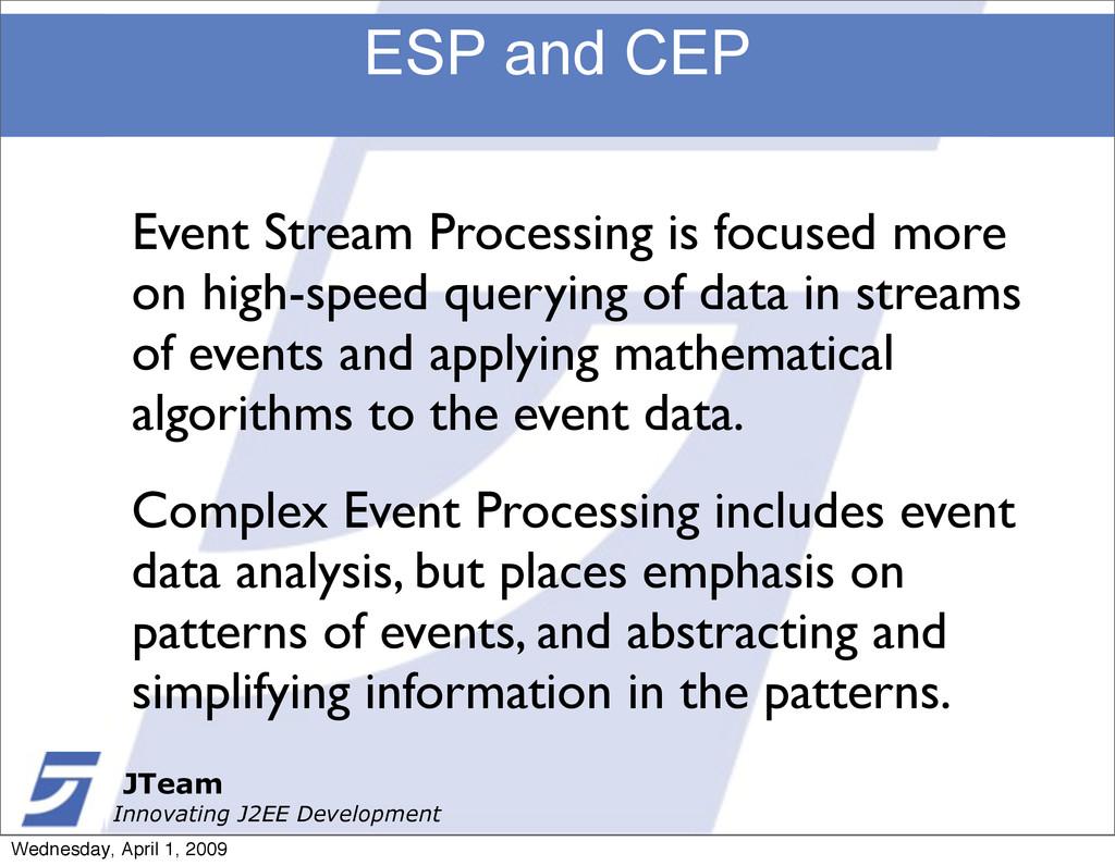 JTeam Innovating J2EE Development ESP and CEP J...