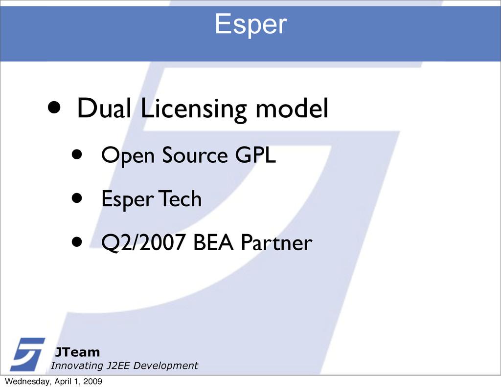 JTeam Innovating J2EE Development Esper JTeam I...