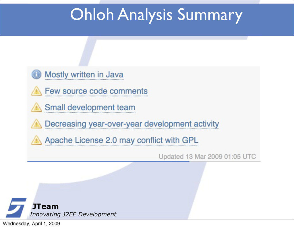 JTeam Innovating J2EE Development Ohloh Analysi...