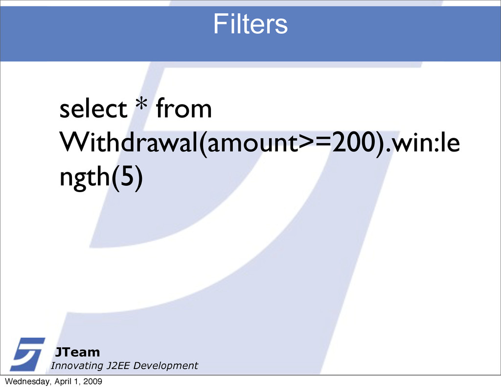 JTeam Innovating J2EE Development Filters JTeam...