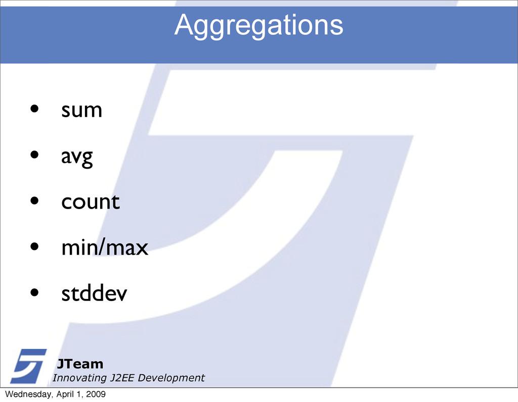 JTeam Innovating J2EE Development Aggregations ...
