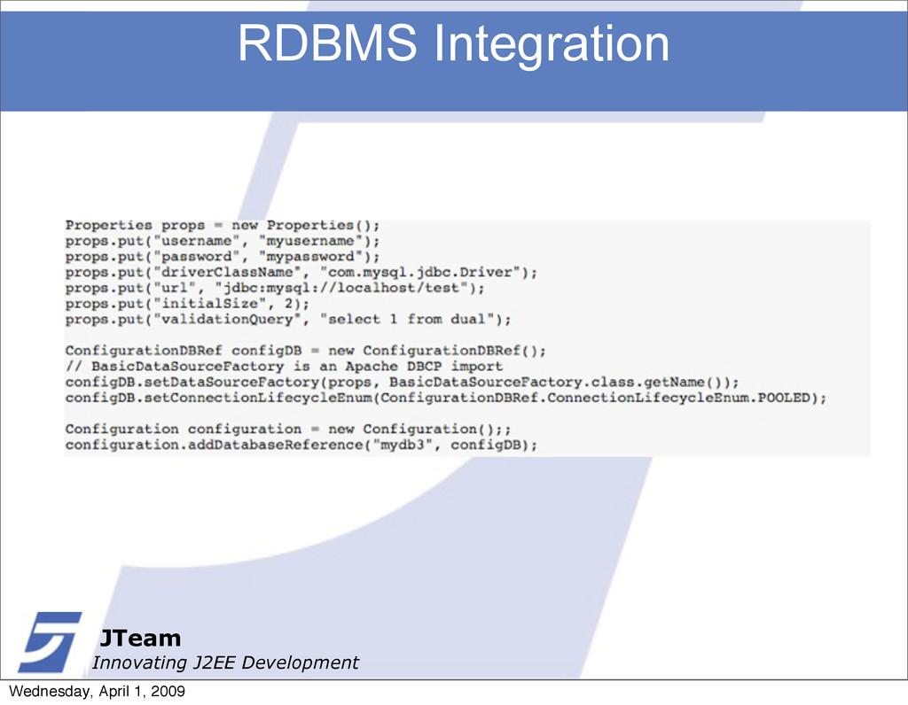 JTeam Innovating J2EE Development RDBMS Integra...