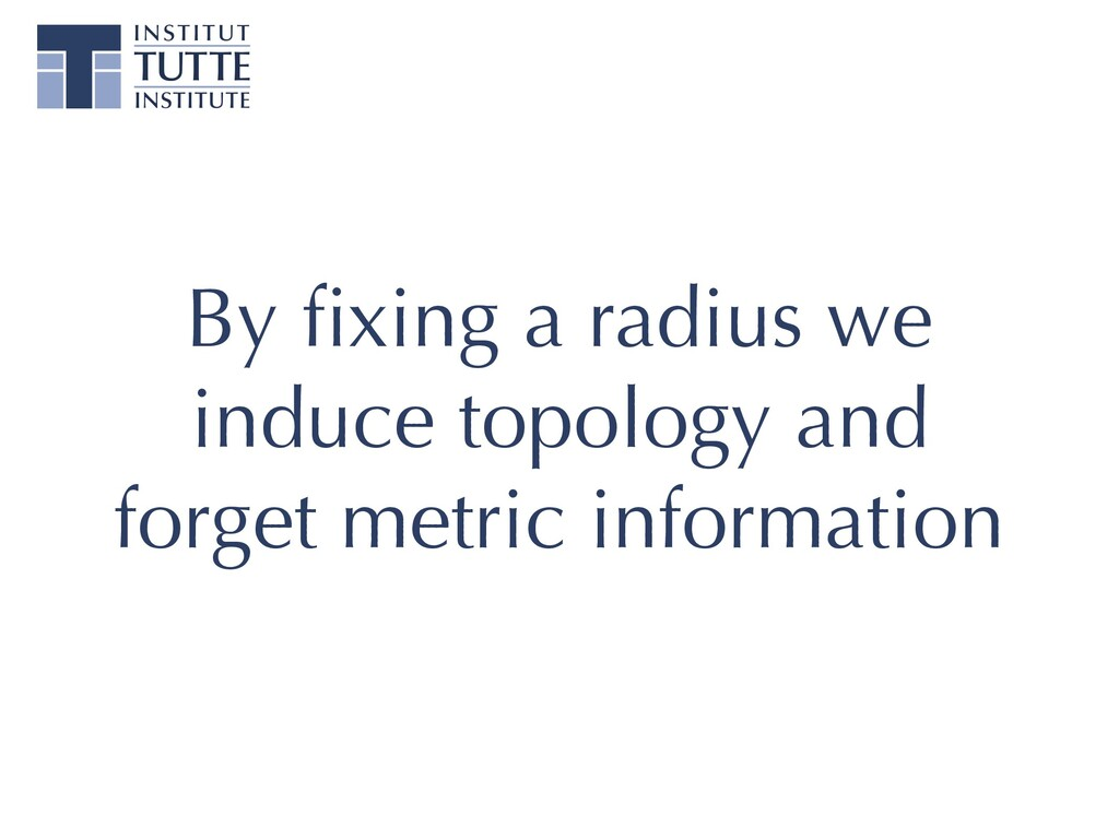By fixing a radius we induce topology and forget...