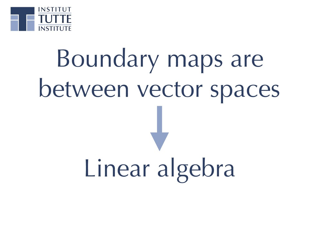Boundary maps are between vector spaces Linear ...
