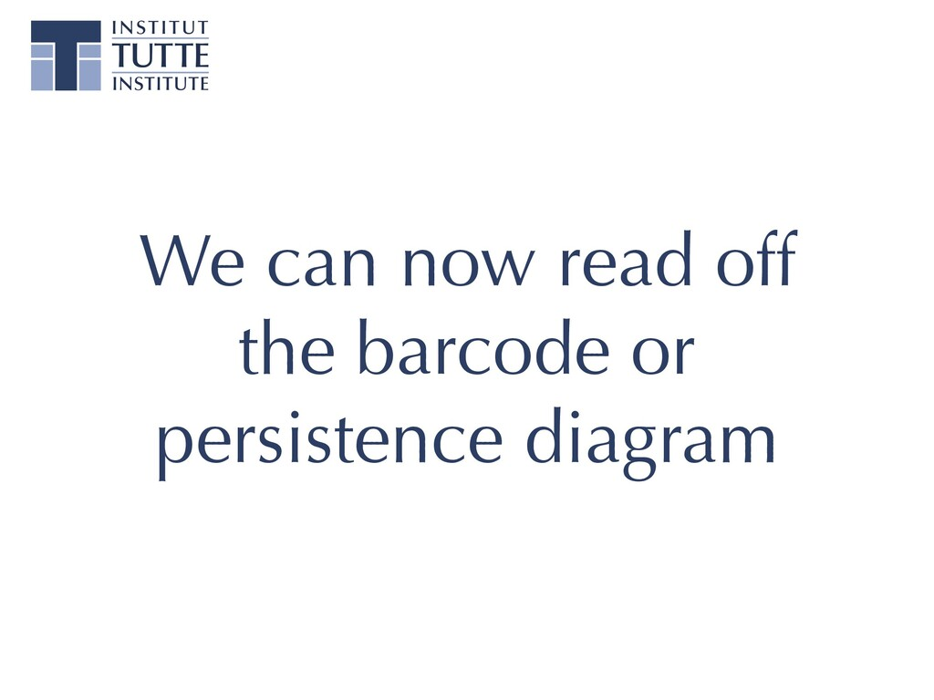 We can now read off the barcode or persistence ...