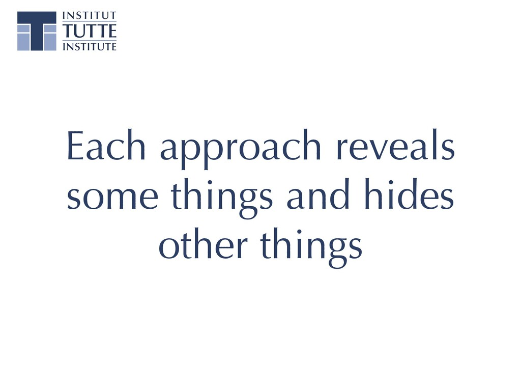 Each approach reveals some things and hides oth...
