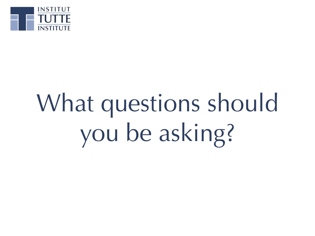 What questions should you be asking?