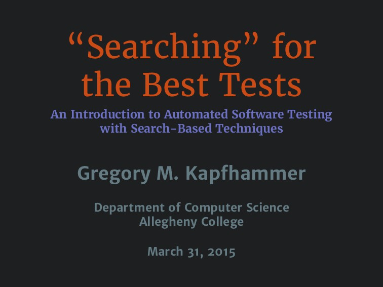 """Searching"" for the Best Tests An Introduction ..."