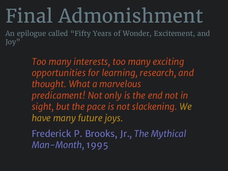 "Final Admonishment An epilogue called ""Fifty Ye..."