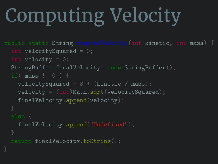 Computing Velocity public static String compute...