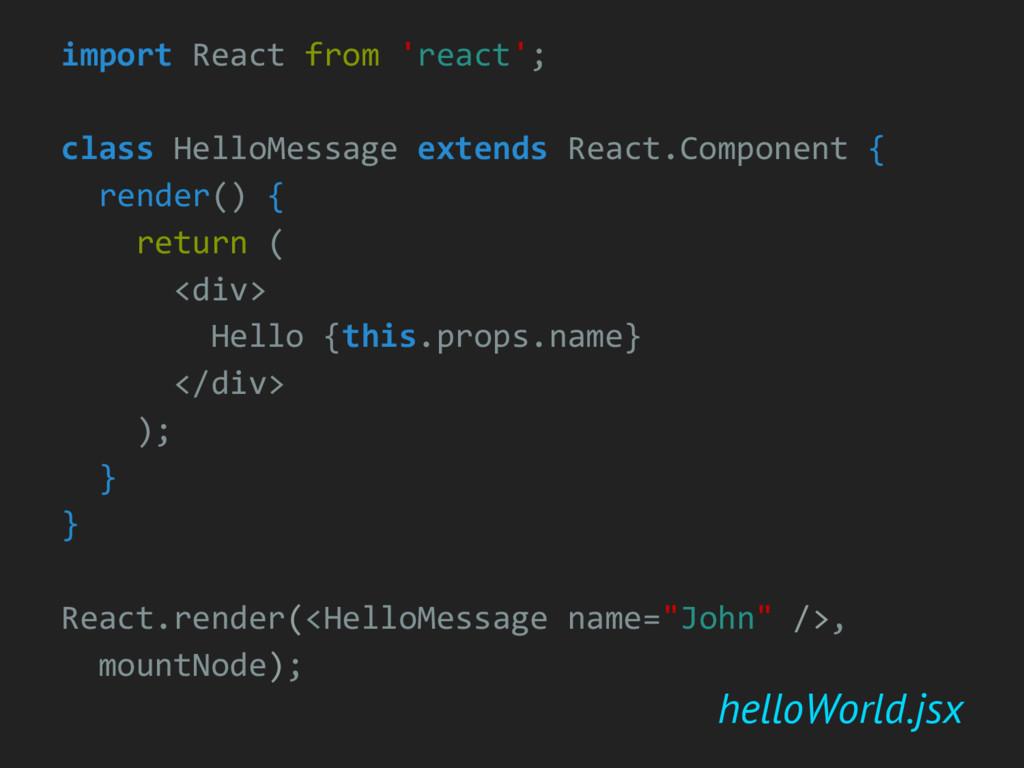 helloWorld.jsx import React from 'react'; class...