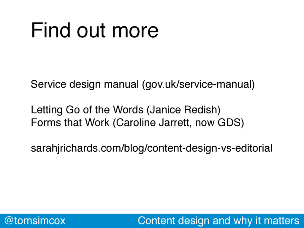 @tomsimcox Content design and why it matters Se...