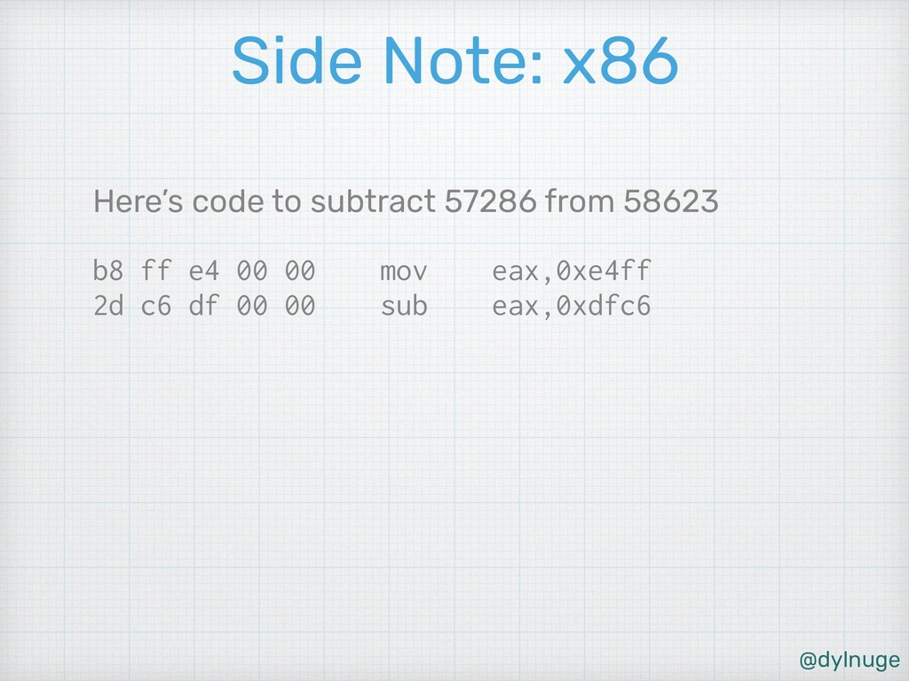 @dylnuge Side Note: x86 Here's code to subtract...