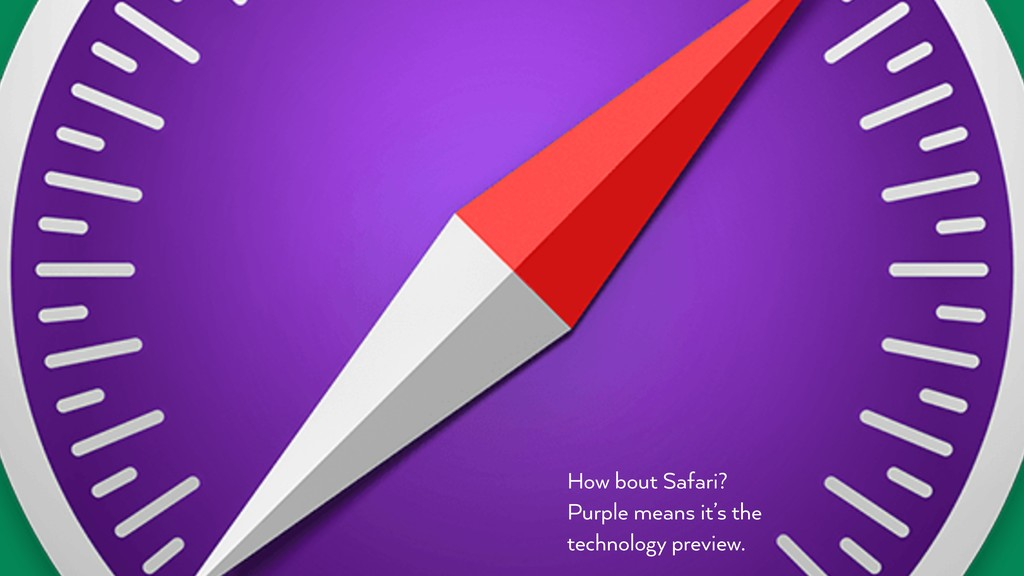 How bout Safari? Purple means it's the technolo...