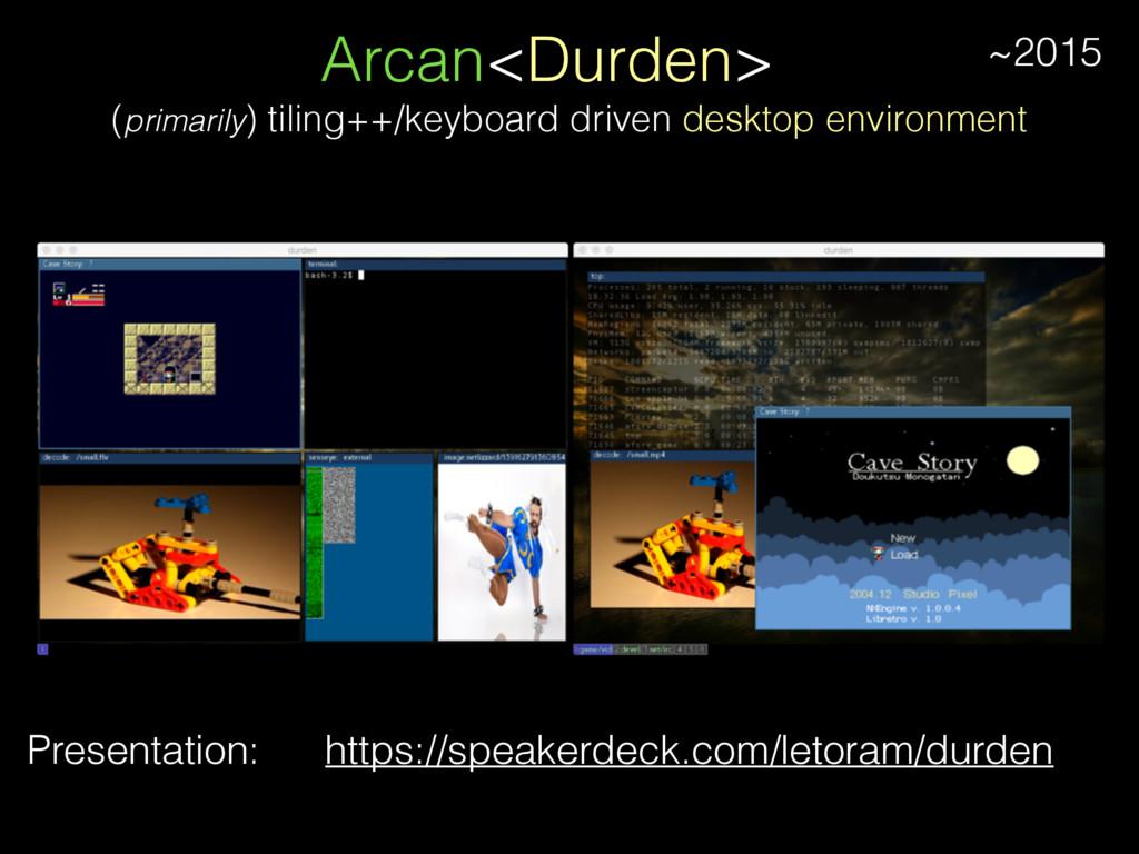 Arcan<Durden> Presentation: (primarily) tiling+...