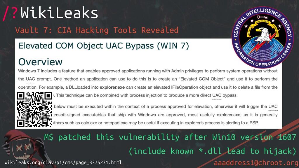 aaaddress1@chroot.org Vault 7: CIA Hacking Tool...