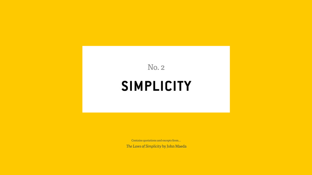 SIMPLICITY No. 2 Contains quotations and except...