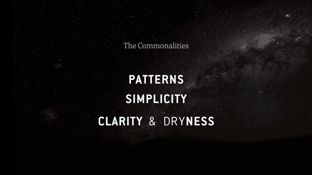 PATTERNS SIMPLICITY CLARITY & DRYNESS The Commo...