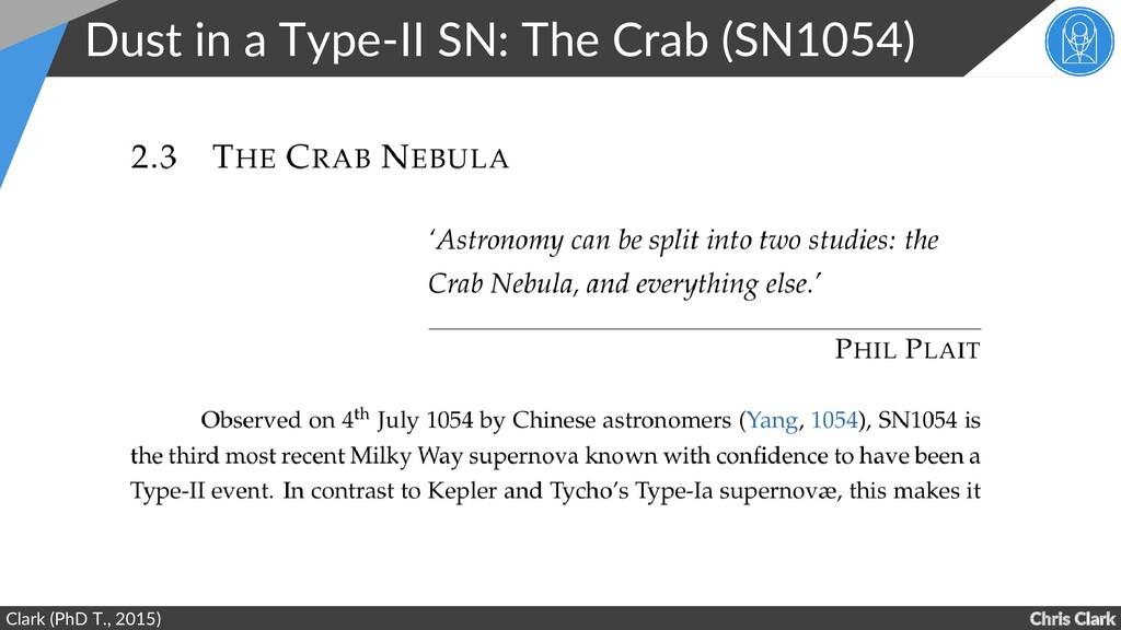 Chris Clark Dust in a Type-II SN: The Crab (SN1...