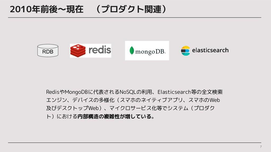 2010年前後〜現在 (プロダクト関連) 7 RedisやMongoDBに代表されるNoSQL...